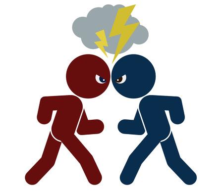 wektor schematyczny obraz konfrontacji. dwa argumentując ludzie, pojedyncze obiekty, ilustracja kolor