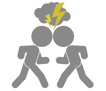 adversary: vector schematic image of confrontation. two arguing people, isolated objects