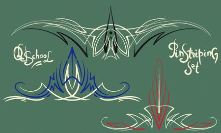 3 別の古い学校のベクター セット スタイル ピンストライプ グラフィック装飾品  イラスト・ベクター素材