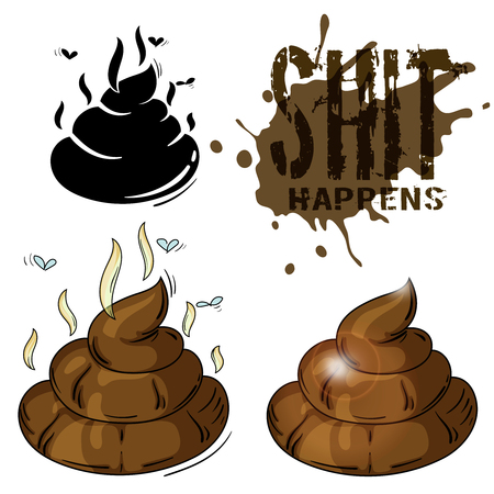 shit: color cartoon illustration - a piece of shit with scent and flyes, also its silhouette and text shit happens