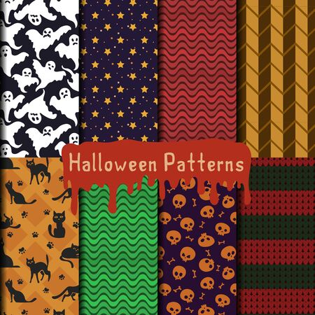 a pack with eight seamless patterns for your halloween design.  ghosts, cats and skulls and some geometric patterns in colors close of this holiday Illustration