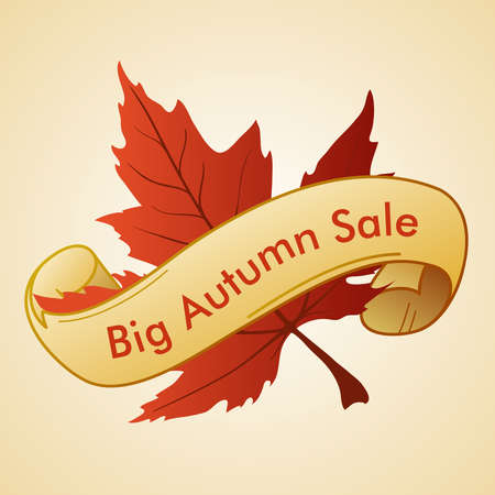 tree service business: label - big autumn sale - with the maple leaf and text ribbon