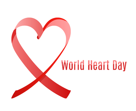 world heart day or world aids awarness day red ribbon, minimalistic plackard