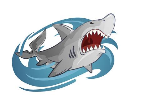 cartoon vector hand-drawn illustration of white shark Illustration