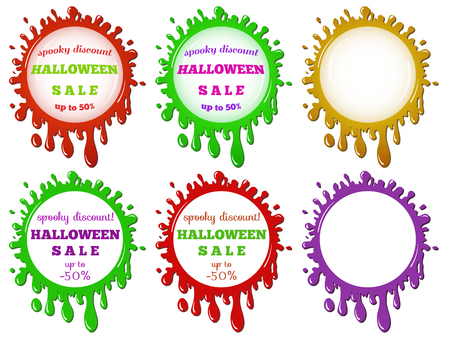 variously: vector advertising banner, sticker, label template - discount halloween sale in the variously colored stains