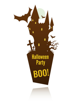 doom: vector template for halloween celebration label with the doom castle and a space for your text Illustration