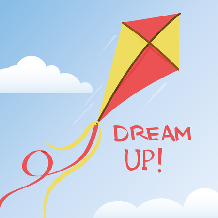 Flying kite with a ribbons tail in a summer sky with a pair of clouds,  illustration with motivational quote - dream up -
