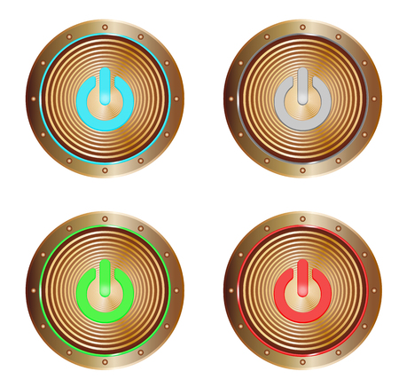 vector set of copper buttons with on symbols Illustration