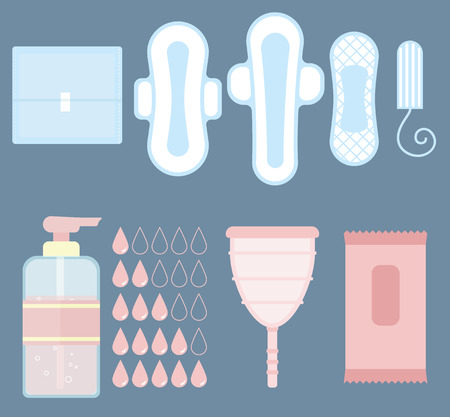menstrual: Feminine personal hygiene (sanitary napkin, tampon, menstrual cup, panties, liquid soap and droplets icons) flat vector items set