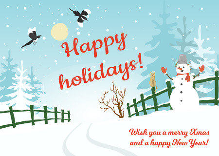plackard: Happy holidays background, postcard, banner, plackard etc. Color vector illustration with winter rural landscape, snowman, spruces and flying magpies Illustration