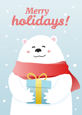 Cute winter greeting card with hand-drawn cartoon white bear with xmas gift. illustration, aspect ratio 5:7 Illustration
