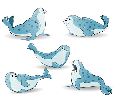 cartoon blue spotted seals set, hand-drawn illustration Illustration