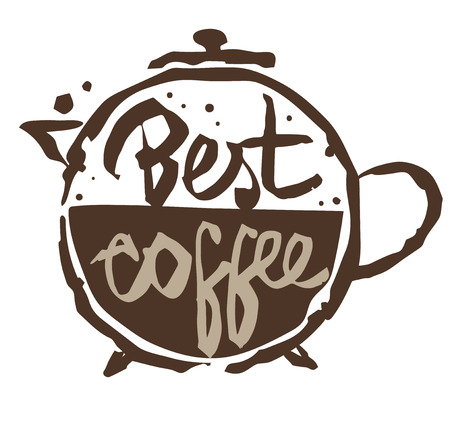 Best coffee - banner with stylized cup stain as a pot and lettering best coffee. Isolated on transparent background.
