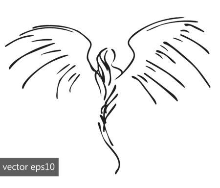 godlike: hand-drawn pinstriping angel, sketch simple vector illustration