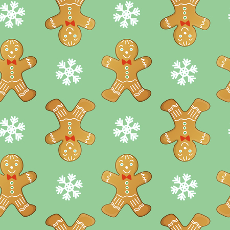 gingerbreadman: Seamless vector pattern with gingerbread men and snowflakes, cute Christmas background Illustration