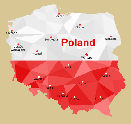 gdansk: geometric polygonal map of Poland, painted in the colors of the national flag. Rzeczpospolita Polska and its capitals of voivodeships (provinces),