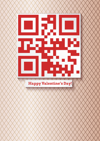 qrcode: Vector illustration for your design (placard, greeting card, label etc.) with qr-code that means i love you and inscription happy valentines day