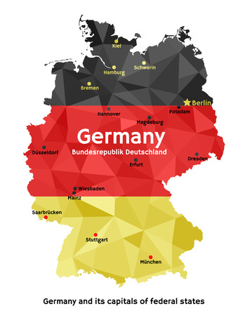 deutschland: Vector geometric polygonal map of Federal Republic of Germany, painted in the colors of the national flag. Bundesrepublik Deutschland and its capitals of 16 federal states (Bundesl?nder) Illustration