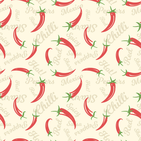 capsaicin: Seamless pattern with doodle cartoon red hot chili peppers on a beige background with words
