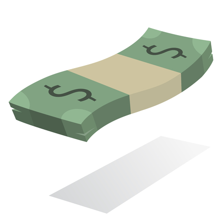 american currency: Stack of dollar banknotes, american currency in flat vector symbol