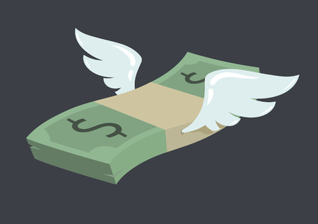 american currency: Flying stack of dollar banknotes, winged american currency in flat vector cartoon style