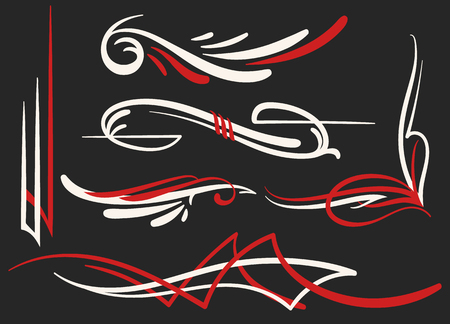 vector graphic set with 6 different old school swirl elements of pinstriping ornaments