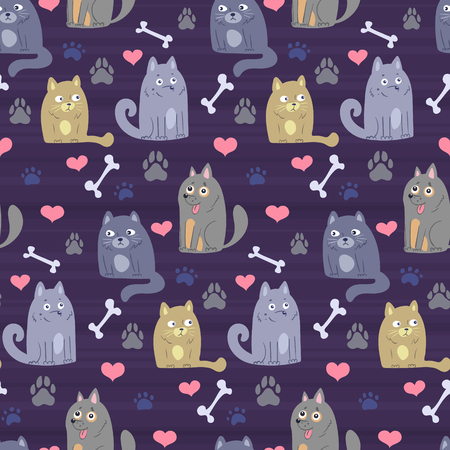 pet theme background vector pattern with cartoon doodle cats and dogs and paw prints