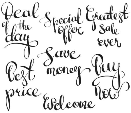 price gain: Set with calligraphyc elements for sale and discount banners or flyers. Vector illustration hipster style poster or label for shop and market. Hand-painted phrases lettering: deal of the day, special offer, save money, best price, buy now, etc.