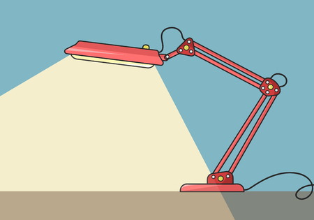 Simple red table lamp, one of most popular designs. Color vector illustration