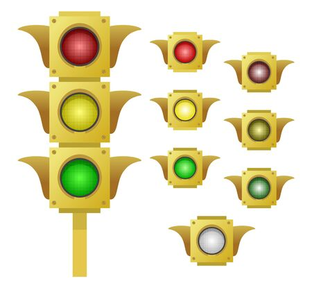Yellow traffic light and a set of its segments, simple vector colored illustration Stock Photo