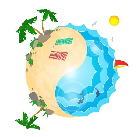 yin and yang beach and sea, harmony of summer vacations, color vector illustration isolated on white background