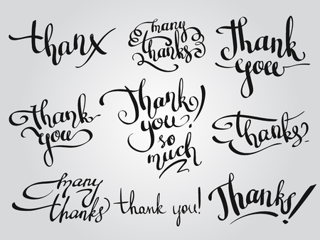 custom letters: Vector set of custom THANK YOU design lettering, various handmade calligraphy elements