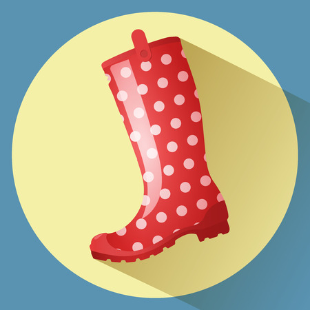 welly: Red classic rainboot with white dots pattern vector icon. Side view.