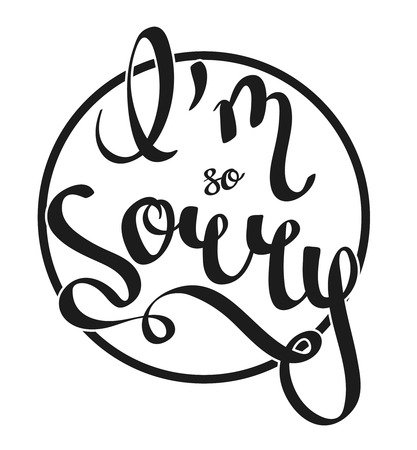 Hand-written lettering, calligraphic phrase - I'm Sorry - with the cyrcle on a background.