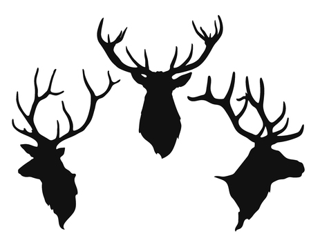Simple black silhouettes of the buck's heads on the white background. Vettoriali
