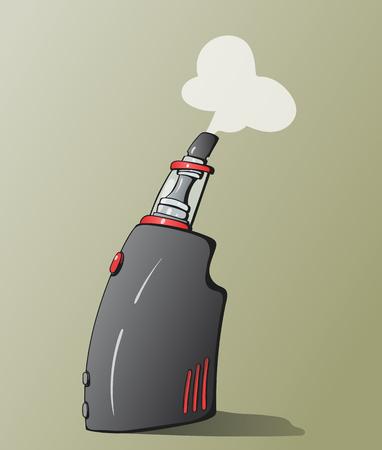graffity: Hand-drawn cartoon vector illustration of the vaping device