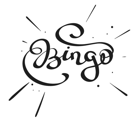 Hand-written lettering, calligraphic word - Bingo- isolated on a white background, simple vector illustration
