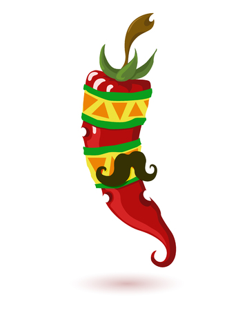 capsaicin: Mexican Red chili pepper with a mustache vector icon isolated on white background Illustration