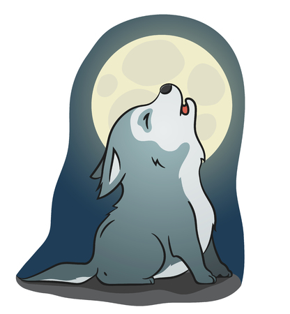 Hand drawn picture of a cute little wolf sitting and howling at the moon, cartoon vector illustration Vectores