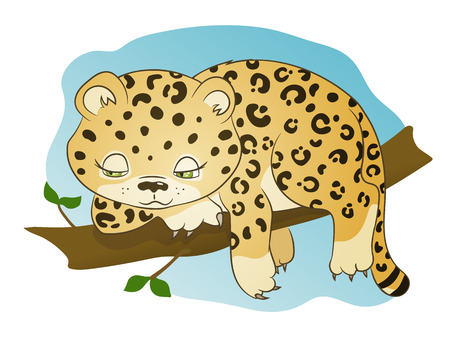 Hand drawn picture of a cute little leopard lying on a branch, cartoon vector illustration