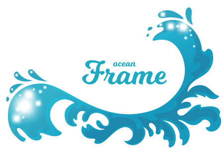 stylized cartoon ocean wave with drops and splashes, isolated vector illustration