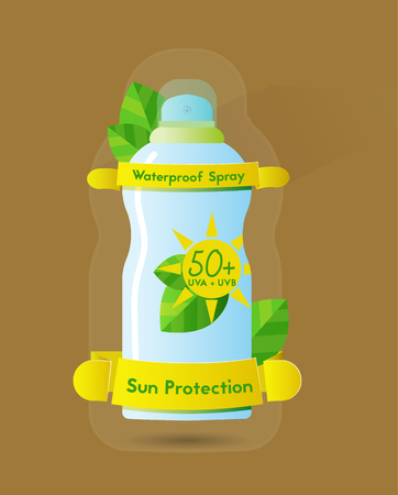 Sunblock waterproof spray can, high protection spf 50+, color vector illustration