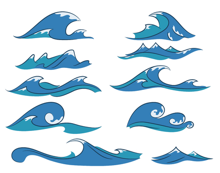 Set of hand drawn cartoon ocean waves on the white background, nautical elements for your design