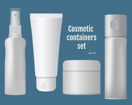 paint can: Cosmetic containers set, isolated items on the solid blue background, blank for your design Stock Photo