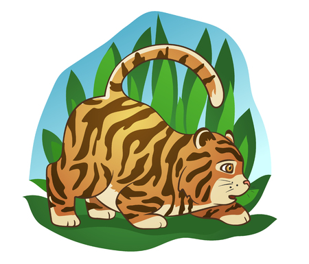 Hand drawn picture of a cute fat little tiger sneaking in the jungle, cartoon vector illustration