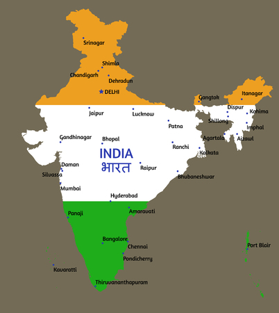 Vector flat styled map of India and its capitals of states and union territories Illustration