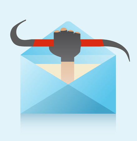 The hand of the robber with the crowbar comes out of the envelope. Flat vector illustration of email hacking