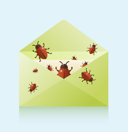 Bugs comes out of the envelope. Flat vector illustration of email viruses