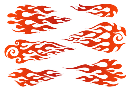 Red to orange gradient colored fire, old school flame elements, isolated vector illustration