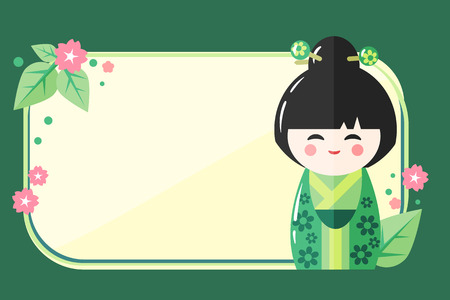 bun: Greeting Card Template with Japanese Kokeshi Doll icon. Kawaii asian design with a place for your text